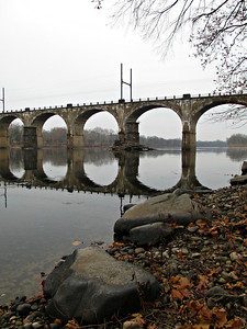 """West Trenton Railroad Bridge, Yardley, Pennsylvania"" - Daily Photo - 02/17/13  I parked in an apartment building, crossed a street, jumped over a wet guard rail, climbed down a hill and slipped into the water, which fortunately wasn't even ankle deep.  All that to get a few pictures!"